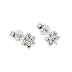 Stecker 5x5mm Blume mit Zirkonias Silber 925 – Bild 4