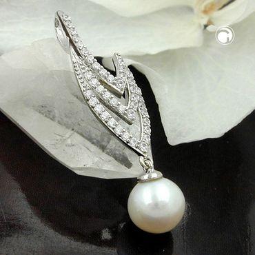 Anhänger, Zirkonia und Perle, Silber 925 – Bild 2