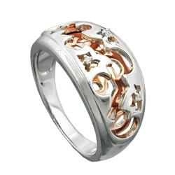Ring, bicolor, rhodiniert, Silber 925 – Bild 4