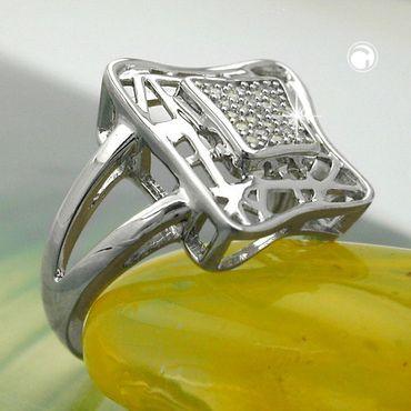 Ring, Viereck mit Zirkonias, Silber 925 – Bild 2