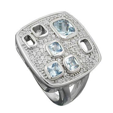 Ring, Viereck, Zirkonias, Silber 925 – Bild 3