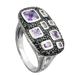 Ring, Zirkonias lila-schwarz, Silber 925 – Bild 4