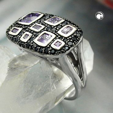 Ring, Zirkonias lila-schwarz, Silber 925 – Bild 2