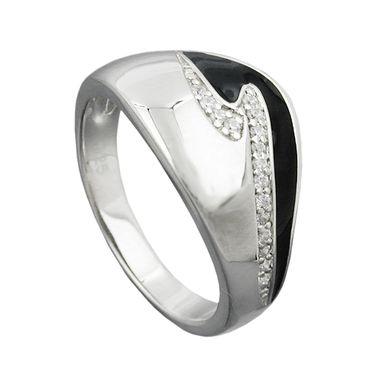 Ring, schwarz mit Zirkonias, Silber 925 – Bild 1