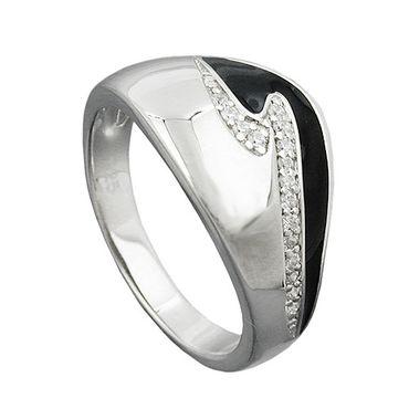 Ring, schwarz mit Zirkonias, Silber 925 – Bild 3