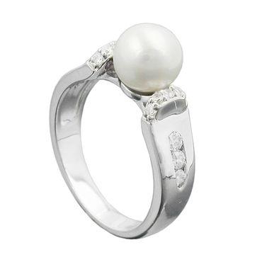 Ring, Zuchtperle, Zirkonias, Silber 925 – Bild 1
