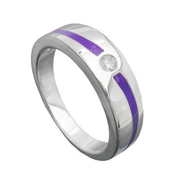 Ring, lila, mit Zirkonia, Silber 925 – Bild 1