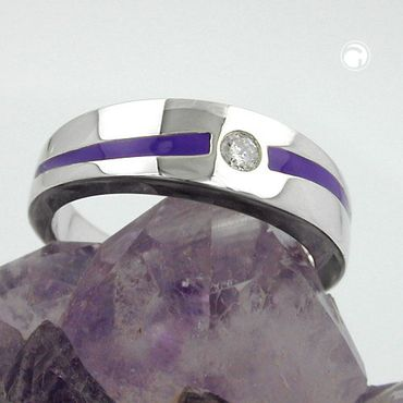 Ring, lila, mit Zirkonia, Silber 925 – Bild 2