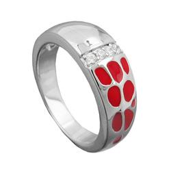 Ring, rot, mit Zirkonias, Silber 925 – Bild 4