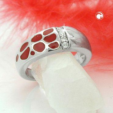Ring, rot, mit Zirkonias, Silber 925 – Bild 2