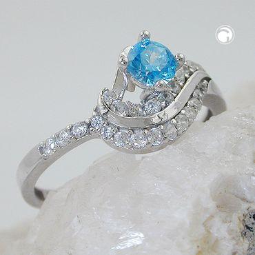 Ring, Zirkonias aqua/weiß, Silber 925 – Bild 2