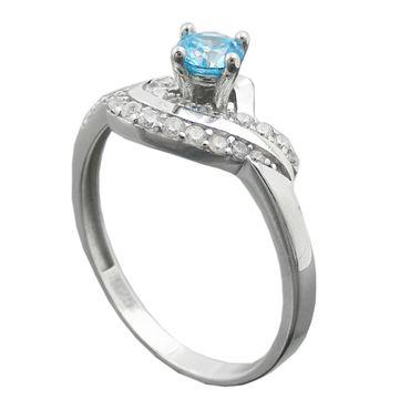 Ring, Zirkonias aqua/weiß, Silber 925 – Bild 1