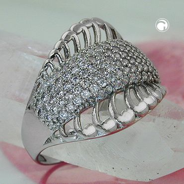 Ring, mit vielen Zirkonias, Silber 925 – Bild 2