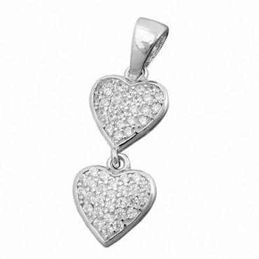 Anhänger, 2 Herzen, Zirkonia, Silber 925 – Bild 1