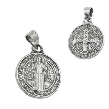 Anhänger 14mm religiöse Medaille Sankt Benedikt Silber 925 – Bild 1