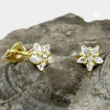 ASS 375 Gold Damen Kinder Ohrringe Ohrstcker Stern mit Zirkonia weiß 6 mm