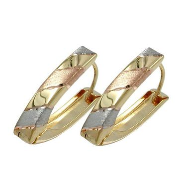 ASS 375 Gold Damen Ohrschmuck Ohrringe Creolen Klappscharnier V-Form Tricolor