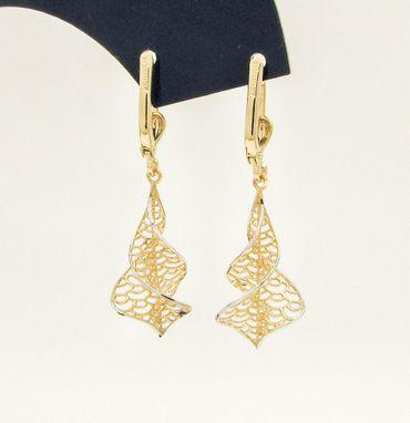 ASS 585 Gold Paar Topmodische Ohrhänger Ohrringe Brisur Bicolor 39mm  lang – Bild 4