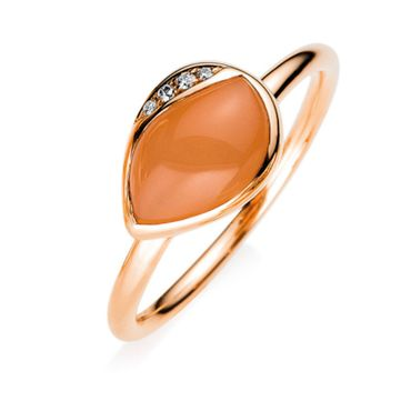 Ring 17,2 (54) 750-er Rotgold mit 4 Diamanten und 1 Mondstein. Ring 18 kt RG, 4 Brill. 0,02 ct, TW-vsi, 1 Mondstein 1,66 ct orange, Weite:54