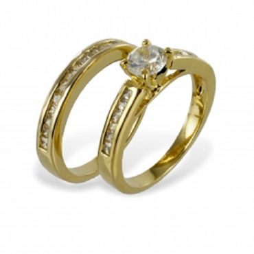 ASS Gold Double Damen Ring -Set mit Zirkonia Gr.17,18,19 inkl.Memoryring,vergoldet – Bild 1