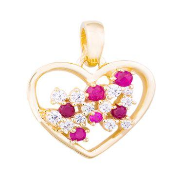 333 Gold Damen Mädchen Anhänger Herz 13 mm mit Rubin und Zirkonia, poliert