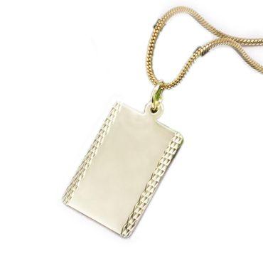 ASS 333 Gold Damen Herren Anhänger Gravurplatte ohne Gravur diamantiert rechteckig – Bild 1