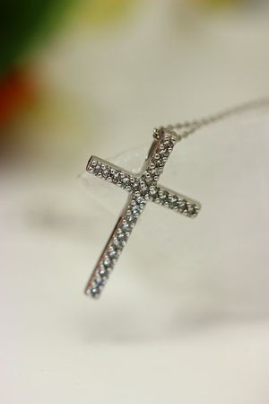 ASS 585 Gold Weißgold Anhänger Kreuz Kreuzanhänger mit Diamanten 0,10ct  – Bild 4