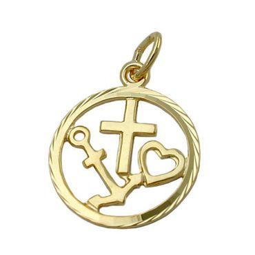 333 Gold Anhänger mit Kette Glaube Liebe Hoffnung Kettenanhänger Glücksbringer – Bild 1