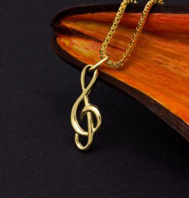 ASS 333 Gold Anhänger Notenschlüssel, Violinschlüssel – Bild 3