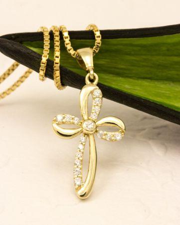 ASS 585 Gold  Kommunion Konfirmation ANHÄNGER KREUZ mit Zirkonia Kreuzanhänger  – Bild 3