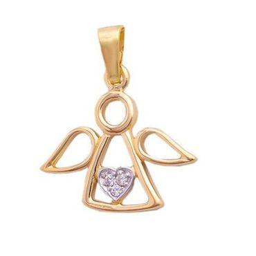 ASS 585 Gold Anhänger Damen Kinder Kettenanhänger Engel mit Zirkonia bicolor – Bild 1