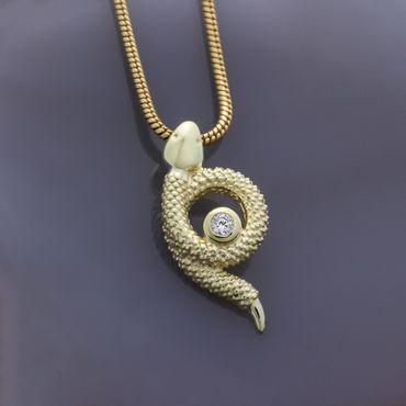 ASS 333 Gelbgold Anhänger Schlange mit Zirkonia weiß  – Bild 3