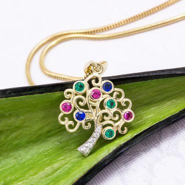 ASS 585 Gold Anhänger Baum des Lebens mit farbigen Zirkonia glänzend, Glücksbringer, Kettenanhänger – Bild 2