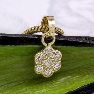 ASS 585 Gold Anhänger Blume mit Zirkonia klein Kettenanhänger – Bild 5