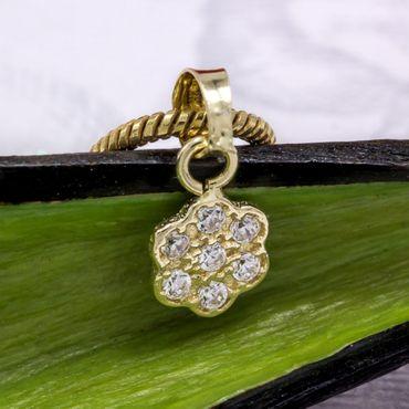 ASS 585 Gold Anhänger Blume mit Zirkonia klein Kettenanhänger – Bild 6