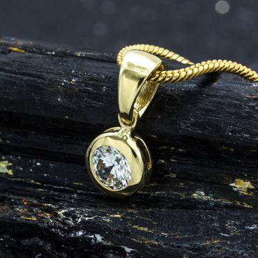 ASS 585 Gold Anhänger rund mit Zirkonia Kettenanhänger – Bild 6