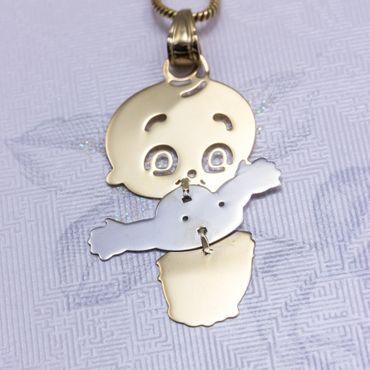 ASS 585 Gold Anhänger Baby Kind bicolor Kettenanhänger – Bild 4
