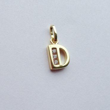 ASS 333 Gold Buchstabenanhänger Buchstabe D Anhänger glänzend mit Zirkonia – Bild 2