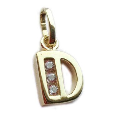 ASS 333 Gold Buchstabenanhänger Buchstabe D Anhänger glänzend mit Zirkonia – Bild 1