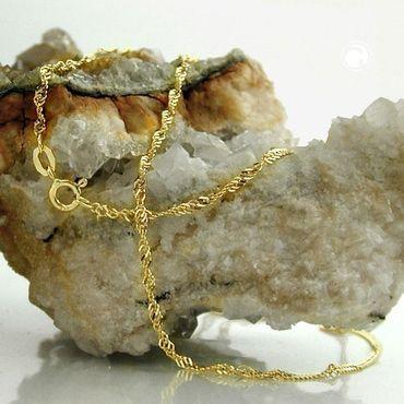 585 Gold Damen Singapur Kette Halskette 55cm 1,5mm Singapurkette,14K – Bild 3