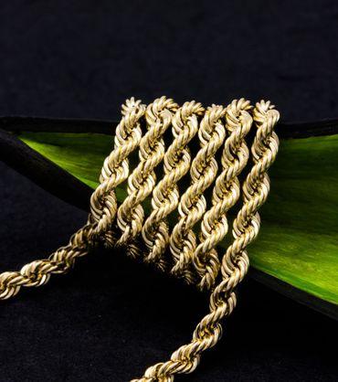 ASS 585 Gold Damen Kordel Kette 3 mm 50cm Halskette Collier Kordelkette 14K – Bild 3
