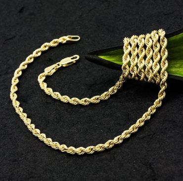 ASS 585 Gold Damen Kordel Kette 3,5 mm 45cm Halskette Collier Kordelkette 14K – Bild 4