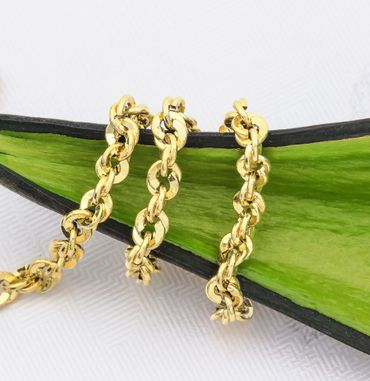 ASS 585 Gold gelb Damen unikales Design Singapur Kordelkette 3,7 mm breit 45 cm lang – Bild 2