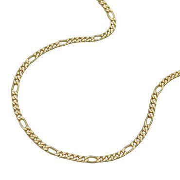 ASS 333 Gold Damen Kinder Figarokette Figaro Kette 38 cm 1,1 mm, diamantiert – Bild 1