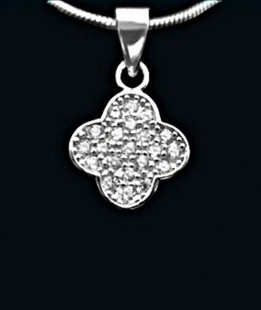 ASS 925 Silber ANHÄNGER Kreuz mit Zirkonia weiß – Bild 2