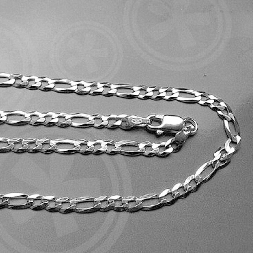 f62a64150b6f ASS 925 Silber Damen Herren Figaro Kette 50 cm 3.5 mm Halskette – Bild 2