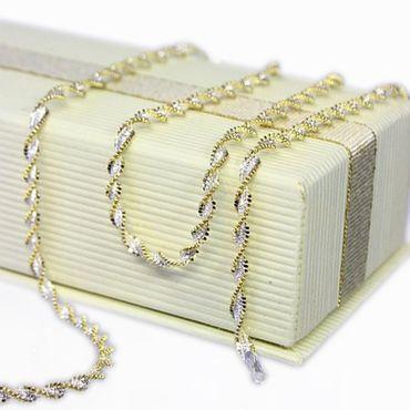 ASS 925 Silber Damen Singapur Kette Collier Halskette 3mm 45cm Bicolor, vergoldet – Bild 2