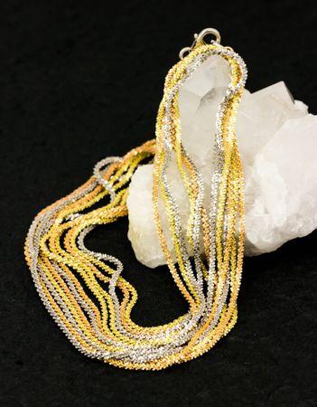 ASS 925 Silber Damen  Bauchkette Bikinikette Schlangenkette gemustert Kette Tricolor, vergoldet, diamantiert 90 cm  – Bild 3