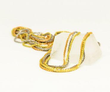 ASS 925 Silber Damen  Bauchkette Bikinikette Schlangenkette gemustert Kette Tricolor, vergoldet, diamantiert 90 cm  – Bild 4