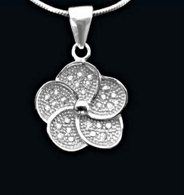 ASS 925 Silber ANHÄNGER Blume mit Zirkonia weiß, Kettenanhänger – Bild 2